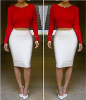 Wholesale Spring Sexy Women Red Crop Top High Waist Pencil Wiggle Skirt Warm Skirts Casual Clubwear Party Vestido Women Pieces Set