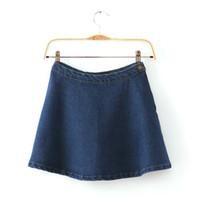 Compra Faldas de jean-botón de venta al por mayor a 2015 la venta caliente de la manera AA American Apparel sólido ocasional del dril de algodón del círculo de Jean mini falda de algodón del envío de cliente Talla S-XL