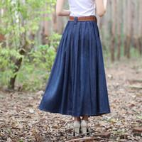 Señora mayor-Corea del encanto informal Denim Faldas 5 colores Nueva larga floja de las mujeres del diseño de la manera una línea de falda de Jean