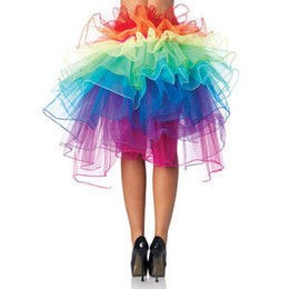 Wholesale-Wholesales Colorful Adult Dancing Tutu Layered Organza Lace up Party Rainbow Skirt Clubwear