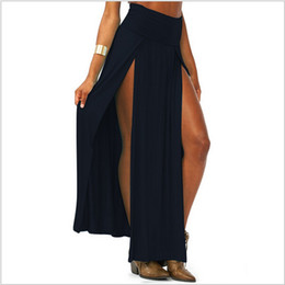 Wholesale-4 Color SEXY TRENDS HIGH WAISTED DOUBLE SLITS OPEN RAYON KNIT LONG MAXI SKIRT 1 PC