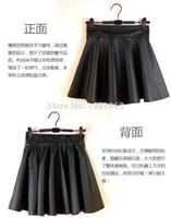 Wholesale on sale explosion models high waist saias pleated skirt PU saia leather skirts plus size S XL colour black