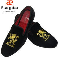 Wholesale New Styles Fashion Velvet Dress Slippers Lion and Loafers Shoes Size6