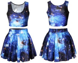 Wholesale-Fashion S004 New Women crop top and skirt set Galaxy Space Print Female Pleated Skirt and camis casual