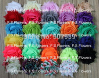 Wholesale Shabby Flower Wholesale Usa - Wholesale-Free USA ePacket CPAP 100pcs 1.5 mini shabby chiffon flower frayed chiffon flower hair accessories 29 colors for free selection