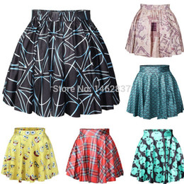 Wholesale women spring pleated black mystery line alias punk girls skirt novelty empire skirts