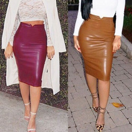 Wholesale- New CHIC Women Fashion Stretch Waist Short Midi Skirts Sexy Pencil Clubwear Faux Leather PU Bandage Rayon Pleated Skirt