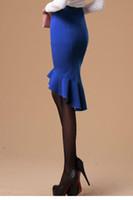 achat en gros de longueurs de hemline-Vente en gros 2015 femmes de mode crayon jupes longueur genou femmes Slim poisson Tail de LC71074 de saias High Low volantée Hemline Midi Jupe