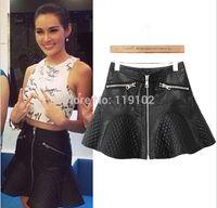 Wholesale New Fashion Brand Women Black PU Leather Pleated Sexy Ruffles Mini Bust Skirt Elegant Lady Casual Zipper Skirt