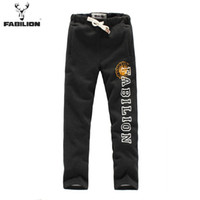 Cheap Wholesale-113403306 free shipping FABILION spring new male casual flannel loose drawstring full length sweatpants, joggers sport pants men