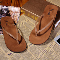 Cheap Wholesale-2015 Brand New Family Shoes Lovers Designer Rubber Summer Flip Flops Thongs Sandals Shoes Suede Fabric Beach Slippers for women