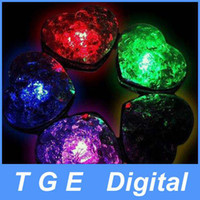 Wholesale Heart Shape LED Ice Cube Fast Slow Flash Color Changing White Light Color Crystal Cube For Valentine s Day Party Wedding