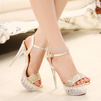 Wholesale Flower Fashion Womens Shoes open toe Pumps Sexy High Heels cm wedges cm gold sliver Crystal Bottom Shoes