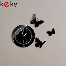Wholesale FREE Mirror wall stickers sofa mirror clock NEW WATCH CLOCK POST ABOUT CM