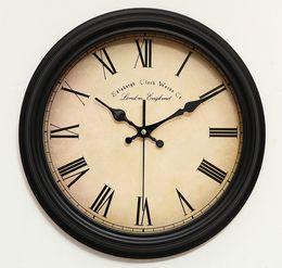 Wholesale A054 Retro clock cream colored Wall clock time quartz watch the clock home decoration fashion new art design