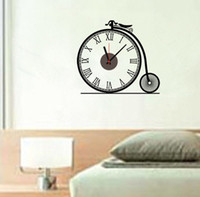 artistic wall clocks - ZY803 Removable DIY creative Clock Artistic Wall Hanging Clocks Mechanism Wall Clock Sticker for living room