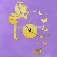 Fairy-gros 11Butterfly2015 top fashion montre réelle acrylique Quartz horloge murale 3d art sticker miroir de décoration enfants décor freeshipping