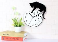 aquarium cat fish - Fashion Creative Clock Cat Catch Fish in the Aquarium Wall Clock for Kids