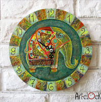 antique canvas - Retro Canvas Cartoon Cute womens Green elephant baby s room Needle Round Lock Wall art hang Quartz Art Clock Picture