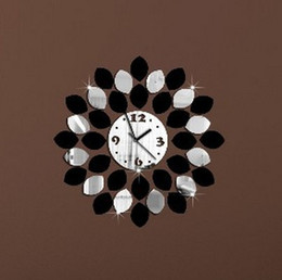 Wholesale new big hot sale real wall clock modern design watch mirror clocks crystal balcony courtyard quartz acrylic