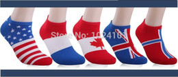 Wholesale-2015 World Cup flags socks Men's cotton trade socks invisible socks summer new direct World Cup flags free shipping,5pairs lot