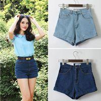 Wholesale Fashion american women s apparel vintage high waist denim shorts summer high quality of cotton blends denim