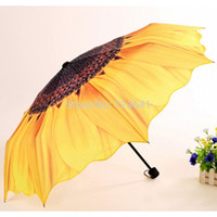 flower umbrella - New Yellow Purple Flower Sunflower Umbrella Folding Umbrellas for Rain and Sun Anti UV Sunshade Umbrella