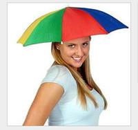 umbrella hat - Umbrella Hat Cap Multicolor Brock Hands Free Head Strap Golf Sun amp Rain UM6448480