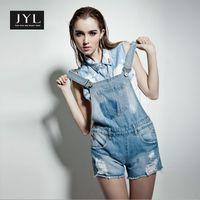 Cheap Wholesale-JYL jeans bleached acid wash blue jeans overalls shorts,bib denim ripped jeans jumpsuits women,plus size female jeans overall