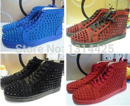 Wholesale Vente en gros expédition Libre nouveaux arrivants noir en cuir véritable haut haut chaussures de la mode des rivets pointes hommes red bottom sneakers