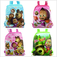 bear shop - Masha and Bear children backpacks Cartoon Drawstring Backpack School Bag Non woven fabric bag Shopping bag Party gift