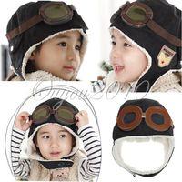 ball aviator - Fashion Cool Baby Toddler Boy Girl Kids Children Cotton Pilot Aviator Warm Cap hat Aviator hat Winter Beanie Goggles Brown Black
