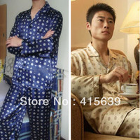 Cheap Wholesale-Men's Silk Satin Pajama Sets For Men Sleepwear Shirt Sleep Night Gown Robe Sets L XL XXL Gold  Blue  Gray  Red WineFree