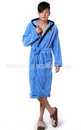 Wholesale Soft Coral Fleece Sleepwear - Wholesale-Free Shipping Hot selling 2015 new Man and women winter long-sleeve coral fleece bathrobe sleepwear Famliy set thick soft robe
