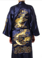 al por mayor túnicas de raso azul marino-Al por mayor-R2 de azules marinos de los hombres chinos de seda satinada borda el traje del vestido del dragón S M L XL XXL XXXL