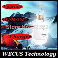 Al por mayor (WECUS) Envío libre, nuevo diseño! lámpara solar, lámpara súper luz que acampa, lámpara de tienda de campaña, 5 LED de 10W E27, A / A (85-265) de doble propósito solar