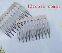 Wholesale Silver Gray Metal Hair Combs teeth x38mm