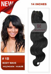 Wholesale 14 quot Body Wave B Natural Black Brazilian Virgin Human Hair Weft g piece VHW063
