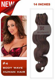Wholesale 14 quot Hot Sale Body Wave Chocolate Brown Indian Remy Human Hair Weft g piece VHW064