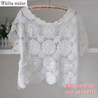 Cheap Wholesale-Women's Fashion Design Summer Hollow Out Crochet Jumper Beach Clothing Loose Blouse Swimwear Short Sleeve Cover-Ups