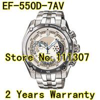 achat en gros de pendule quartz-Vente en gros-EF-550D-7AV de Nouveaux Hommes cadran blanc montre de sport EF-550D 550D EF Cadran Blanc montre-Bracelet À 1/20 de la Chrono-Pendule Fonction