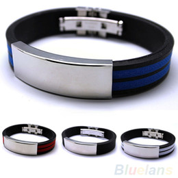 Wholesale-Mens Stainless Steel Bracelet lack Silver Multi colour Fashion jewelry Sport 00IF