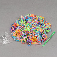 Cheap Wholesale-600pcs Package Rubber Band Loom Bands Girls DIY Bracelet one Bag Clips with loom Tool DIY Bracelet
