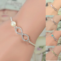 best bridesmaid gifts - Best Bridesmaid gift Infinity bracelet new Fashion Heart Rhinestone Imitation Pearl Silver Plated Bracelet IB431 IB436