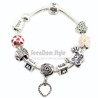 Cheap Wholesale-LOVE YOU MOM 925 Silver Enamel Flower Dangle Love Heart Pulseiras Baby Stroller Charms Bracelet Mother's Day Gift PBS077