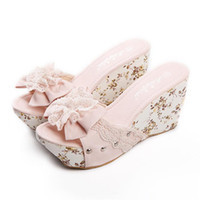 Cheap Wholesale-43size wedge slipper 2015 hot sale Women's shoes sweet casual wedges platform flower sandals summer slippers