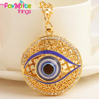 Wholesale Hot Unique Hollow Evil Eye Key Chain Ring Fashion Crystal Trinkets Metal Keychain for Women Bag Purse Charm Pendant Accessories