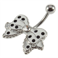 belly ring stud - Hot Stainless Steel Belly Navel Ring Stud Black Dot White Bowknot Crystal Brand New Hot Selling