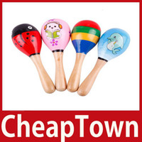 Wholesale CheapTown New Hot Wooden Maraca Wood Rattles Kid Musical Party Favor Child Baby Shaker Toy Save up to