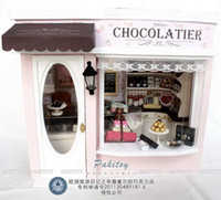 Wholesale Diy Handmade Wooden D Model Doll House Puzzle Miniature Dollhouse Creative Birthday Gift Toy Chocolate shop in Brussels